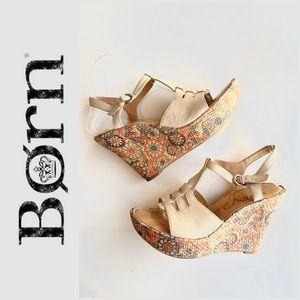 "Born ""Rebecca"" floral platform TStrap wedge sandal"